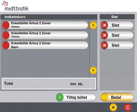 Billetautomater I Bybusserne I Aarhus Midttrafik